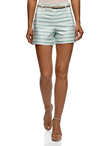 RIFICZECH s.r.o. oodji Ultra Damen Baumwoll-Shorts mit Gürtel, Grün, Herstellergröße DE 32 / EU 34 / XXS