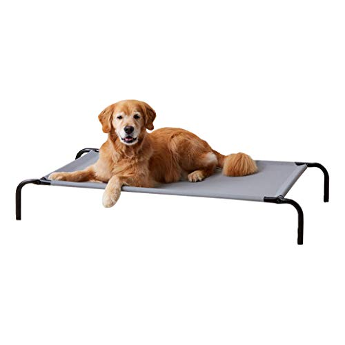 Amazon Basics Cooling Elevated Pet Bed, Large (130 x 80 x 19 cm), Grey