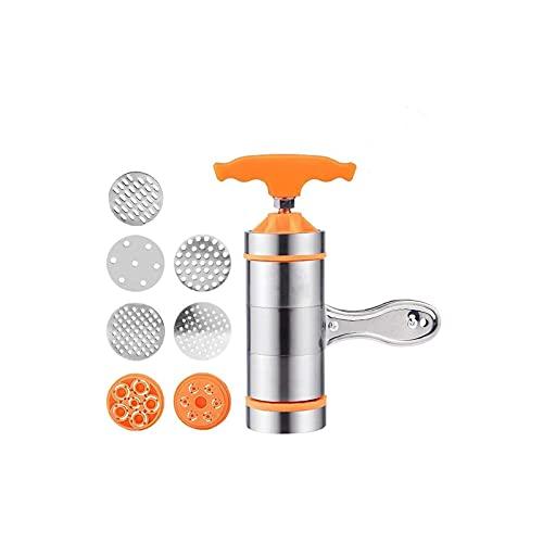Máquina de pasta de prensa, máquina manual de fideos de acero inoxidable para hacer pasta con 7 moldes de fideos