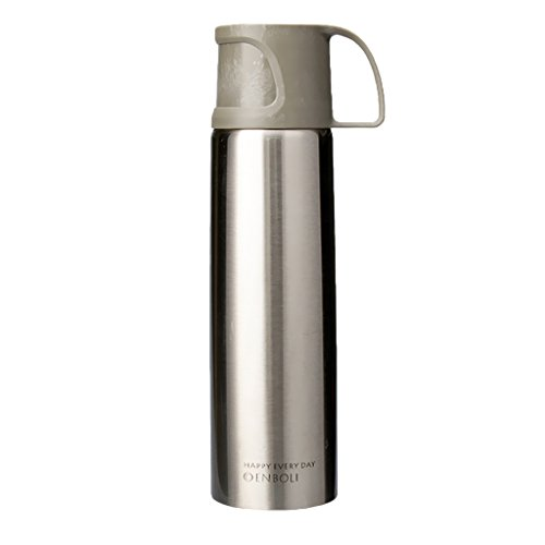 Gazechimp Taza Aislada Botella de Camping de 500 Ml para Almacenamiento de Agua Y Café con Asa, Blanco, Negro, Rosa, Azul, Amarillo, Plateado, Verde - Plata