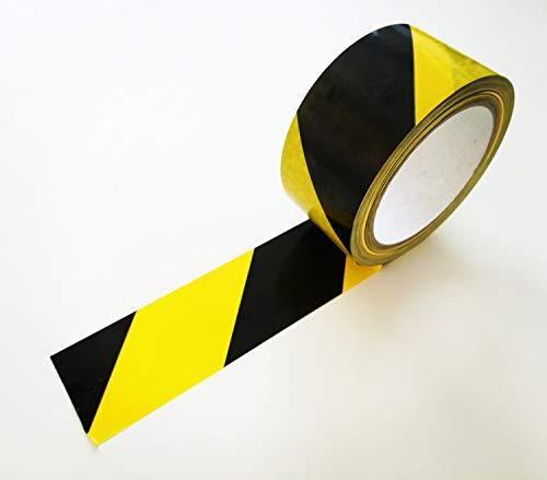 66m Bodenmarkierungsband, PVC-Klebeband, Warnband, Bodenaufkleber oder Fußbodenaufkleber in gelb/schwarz