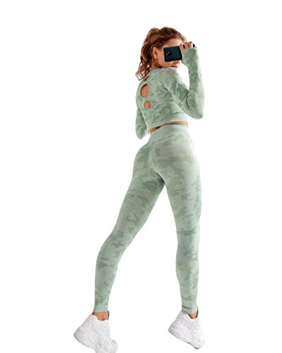 Anzüge Für Yogafrauen Yoga Sets Langarm Shirt + Nahtlose Leggings Hosen Camo Trainingsanzüge Fitnessstudio Tragen Laufkleidung Fitness Sportd Anzug