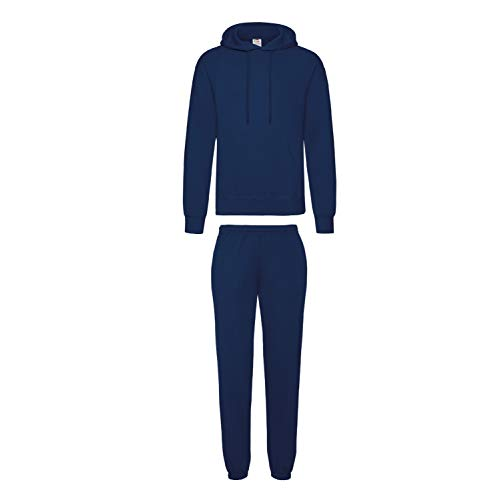 2er-Set Fruit of the Loom Hausanzug Sportanzug Jogginghose & Kapuzensweatshirt (L, Navy)