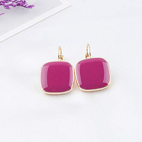 XCWXM Simple and cute square enamel drop earrings rose gold color female fashion jewelry-pink