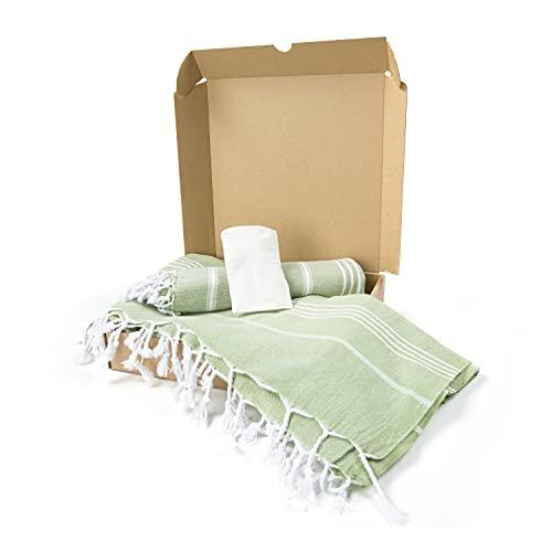 AYSIBOO Cadeauset - 2x saunahanddoek - strandhanddoek en 2x peelinghandschoenen - licht - sneldrogend 180x95 cm - 95x55 cm Hamam - strand - badhanddoek ideaal voor sauna fitness yoga sport - groen