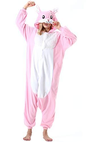 Mujer Hombre Pijama Animal Entero Unisex para Adultos con Capucha Cosplay Pyjamas Ropa de Dormir Traje de Disfraz para Festival de Carnaval Halloween Navidad Rosa Conejo para Altura 148-187cm