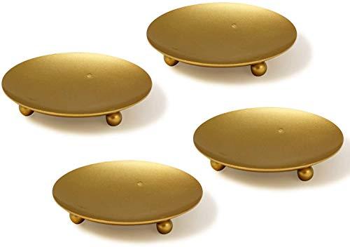 VINCIGANT Kerzenständer Gold, Kerzenhalter Kerzenplatte 4er Set
