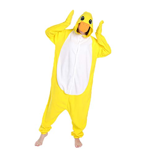 FORLADY Pijamas de Animales Adultos Unisex Pato Amarillo Disfraz de Cosplay Ropa de Dormir Halloween