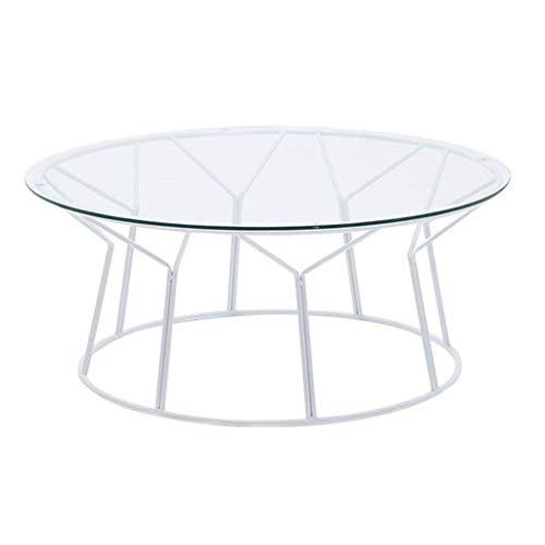 N/Z Wohnausstattung Kreative kleine Wohnung Wohnzimmer Couchtisch Moderner prägnanter Glas-Beistelltisch Schmiedeeisen Runder Mini-Teetisch Weiß