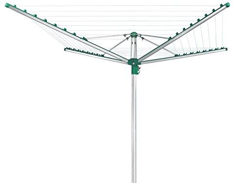 Leifheit Wäscheschirm Linomatic 400 Comfort mit Leineneinzug, Wäschespinne mit Easy-Lift-System, klappbarer Wäscheständer mit 40 Meter Leine