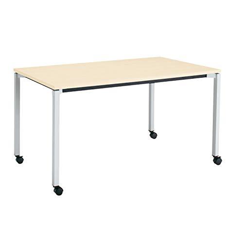 コクヨ ミーティングテーブル JUTO MT-JTK157S81M10-CN 角形天板 4本脚 角脚 スクエアコーナー 幅150×奥行75cm 天板ホワイトナチュラル/脚フラットシルバー キャスター付