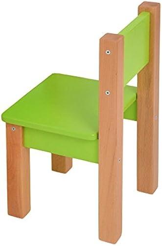 Kindersessel 2er-Set Laurenz Buche Vollholz massiv natur - Grün - Abmessungen  50 - 28 - 28 cm (H - B - T)