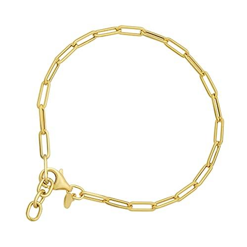 Pulsera de cadena alargada de oro amarillo italiano de 14 quilates con borde de papel pulido, ajustable de 16,5 a 18,4 cm