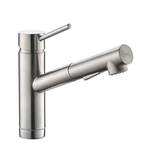 CREA Wasserhahn Küche, Küchenarmatur mit Ausziehbarer Brause, 120° Drehbar Spültischarmatur Küche mit 2 Strahlarten, Mischbatterie aus Edelstahl