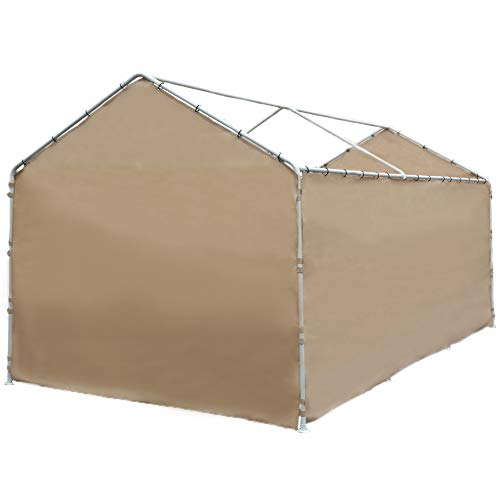 Abba Patio Replacement Cover for 10 x 20-Feet 6 Legs Carport Shelter with Rings, Beige (Frame & Top Cover Not Included)