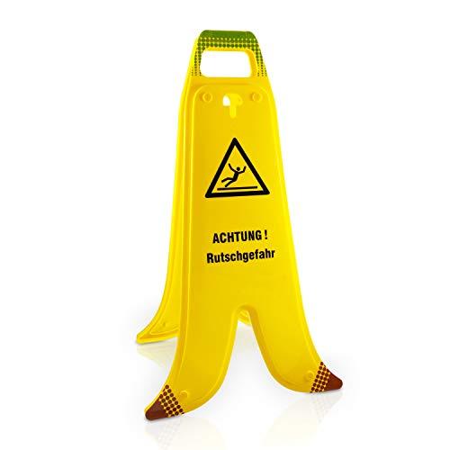 """Betriebsausstattung24® Warnaufsteller """"Achtung Rutschgefahr""""   Warnaufsteller in Bananenoptik   Kennzeichnung von Gefahrenstellen   Kunststoff   Signalgelb   Größe B x H: 33,8 x 60,0 cm"""