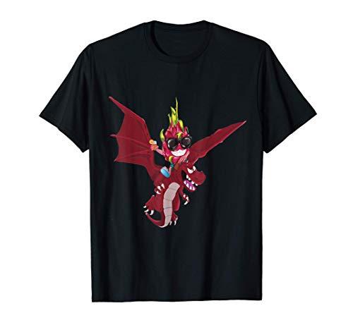 面白い食べ物ドラゴンフルーツ乗馬火を吐くドラゴン Tシャツ
