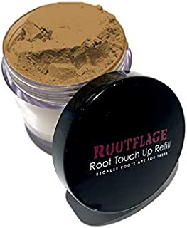 Rootflage Root Touch Up Hair Powder - Temporary Hair Color, Root Concealer, Thinning Hair Powder and Concealer Refill Jar with Detail Brush Included (04 Light Brown)