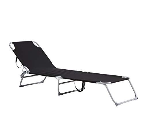 FiNeWaY Folding Garden Sun Lounger Recliner Bed Chair – Ideal For Patio Back Garden Camping Picnic Beach Relaxing Outdoor Comfortable Seat Foldable Textilene (Black)