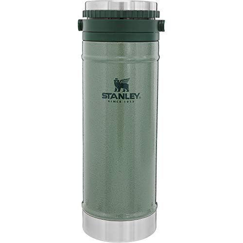 Stanley Legendary Classic Vakuum-Kaffeebereiter + Thermobecher French Press 0.47L, Hammertone Green, 18/8 Edelstahl, Doppelwandige Vakuum-Isolierung, integrierte Kaffeepresse, Easy Clean Filter
