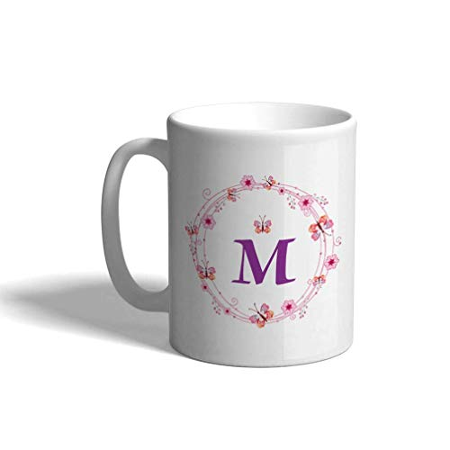 Taza de café personalizada de cerámica, 11 onzas, letra del alfabeto, corona de flores, monograma, taza de té blanca, letras
