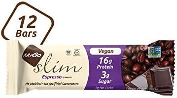 NuGo Slim Dark Chocolate Brownie Crunch, 16g Protein, 3g Sugar, 6g Fiber, 180 Calories, Low Net Carbs, Gluten Free, 12 Count