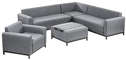 DehnerGarten-Lounge Amsterdam,inkl. Sofa, Sessel, Tisch und Tablett,Aluminium/Textilene, grau