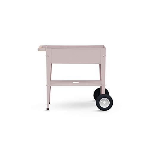 Metall-Hochbeet Trolley 75x35x80cm mit Rad für den Garten oder Balkon (Taupe)