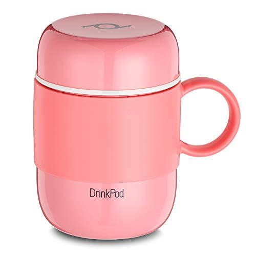 Pioneer DrinkPod mit Griff Isolierbecher aus Edelstahl 0,28 L Doppelwandig Thermobehälter 6 Stunden Heiß 24 Stunden Kühl Auslaufsicher BPA-Frei - Rosa