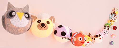CREATIVECOTTON LED Lichterkette mit Cotton Balls inkl. Timer und Dimmer (Tiere, 20 Kugeln)
