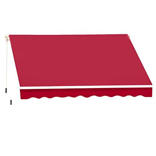 Outsunny Store banne Manuel rétractable Aluminium Polyester imperméabilisé 3L x 2,5l m Rouge Bordeaux