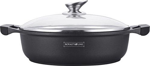 Royalty Line - RL-BR30M - Faitout Bas avec Revêtement Marbre, Couvercle en verre, Induction, 4.5 Litres, 30 cm, Noir