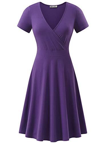 MSBASIC Daphne Cosplay Deep V Neck Dress Work Dress for Women Purple M