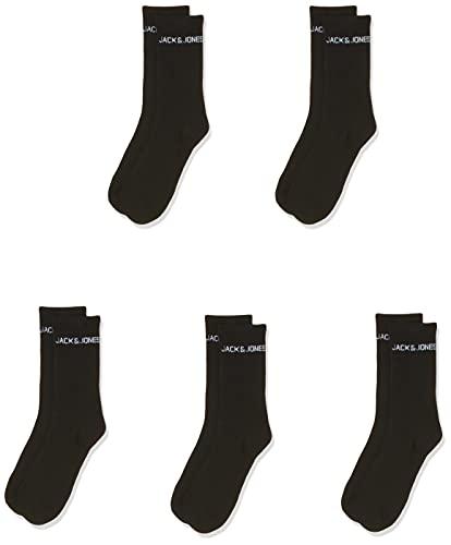 JACK und JONES Herren JACBASIC Logo Tennis 5 Pack NOOS Socken, Black/Detail:Black-Black-Black-Black, ONE Size