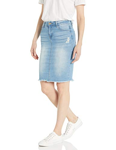 CG JEANS Denim Skirt for Juniors Ripped Distressed Fringe Hem Cute and Sexy, Light Wash, Small