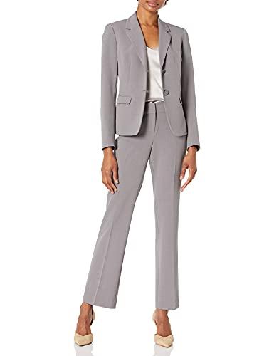 NINE WEST Women's Petite 2 Button Notch Collar Crepe Jacket and Pant, Steel, 8P