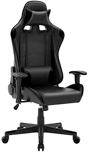 Furious Video Gaming Chair Racing Style Height Adjustment Ergonomic High Back Computer Game Chair Swivel Pu Leather Executive with Headrest and Lumbar Support (Black)
