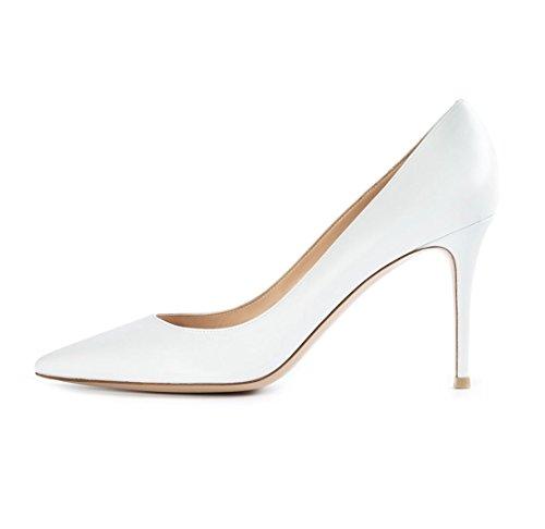 Soireelady Damen Hochzeit Braut Schuhe Übergröße High Heels Weiß Pumps Größe 35
