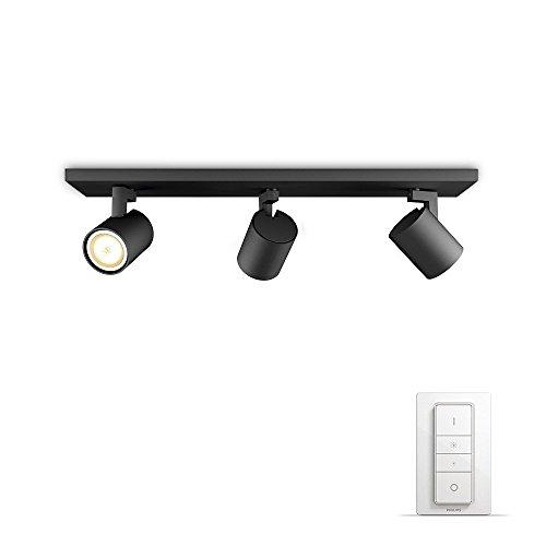 Philips Hue LED 3-er Spot Runner inkl. Dimmschalter, dimmbar, alle Weißschattierungen, steuerbar via App, schwarz, kompatibel mit Amazon Alexa (Echo, Echo Dot)