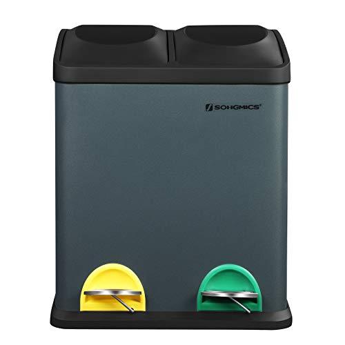 SONGMICS Mülleimer 30 Liter, Mülltrennung, 2 x 15 Liter, Abfalleimer, Treteimer mit Inneneimern, farbigen Pedalen, Mülltrennsystem für die Küche, rauchgrau-schwarz LTB30G