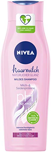 NIVEA Haarmilch Natürlicher Glanz mildes Pflegeshampoo mit Milch- & Seidenproteinen für spürbargesundes Haar, 250ml