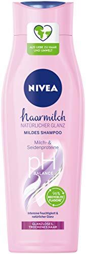 NIVEA Haarmilch Natürlicher Glanz Mildes Shampoo (250 ml), Pflegeshampoo mit Milch- & Seidenproteinen, Haarshampoo für spürbar gesundes Haar