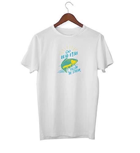 Dead Fish Swim In Stream Awkward Slogan_KK016245 Shirt T-Shirt Tshirt for Men Für Männer Herren Gift for Him Present Birthday Christmas - Men's - Large - White