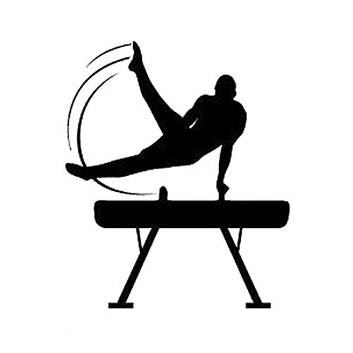 WAXY 12.6CM*15CM Interesting Gymnastics Fitness Sports Silhouette Vinyl Black/Silver Decor Car Sticker S9-1031 Black