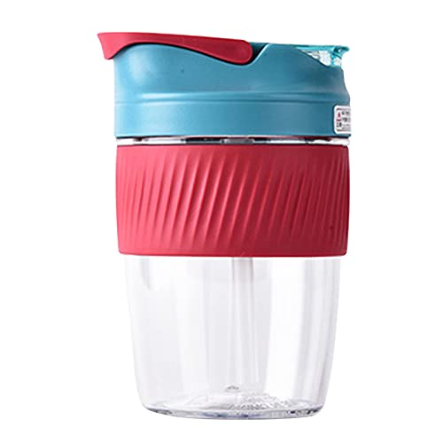 Duodo Botella de café de 400 ml con botella de café a prueba de paja, con funda aislante de silicona, reutilizable y sin BPA, para senderismo, deportes al aire libre, gimnasio, fitness