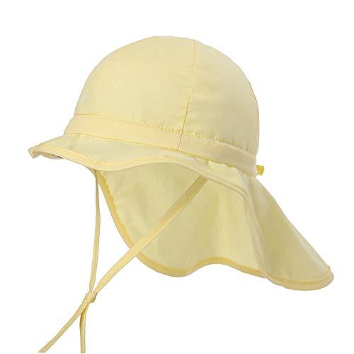 Zeltauto Sonnenhut für Kleinkinder, LSF 50+, mit Nackenschutz, Baumwolle, Strandhut mit Kinnriemen, für Mädchen und Jungen Gr. 53 cm (2-4 Jahre), gelb