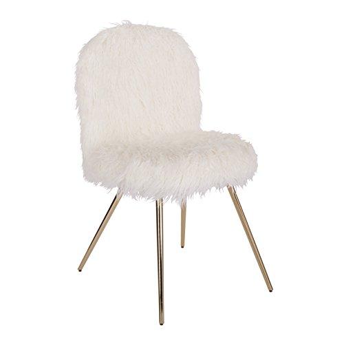 Ave Six Julia Faux fur Teen Accent Chair, White