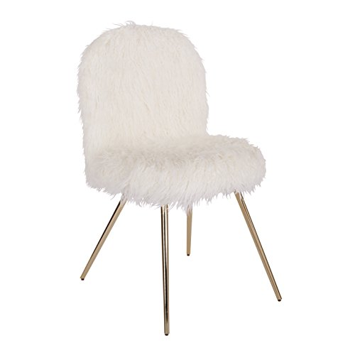 Ave Six Julia Faux fur Teen Accent Chair, White