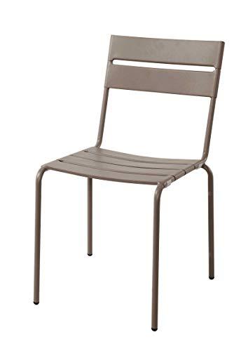 Havnyt - Juego de 2 sillas de jardín de acero resistente a la intemperie y apilables