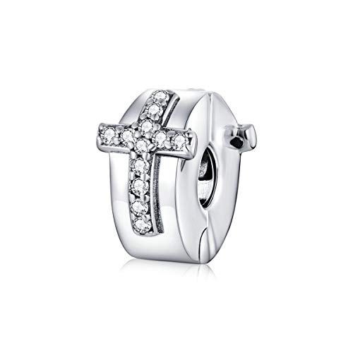 Colorful Crystal Cross Charm Genuine 925 Sterling Silver Clip Lock Spacer Stopper Charm Bead For pandora Bracelet (Cross Stopper Charm)